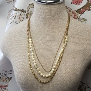 J.Crew Necklace Burnished Gold Pearl Multi chain
